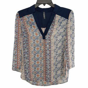 Allison Joy Evereve 3/4 Sleeve V Neck Floral Sheer Blouse Tunic Top Womens Sz S